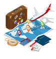 travel and tourism background flat 3d vector image vector image
