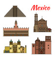 travel landmark mexico and north america icon vector image vector image