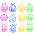 baby bibs for girl and for boy vector image