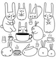 hand drawn cute bunny characters with coffee set vector image