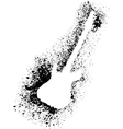 Silhouette of guitar with grunge black splashes vector image