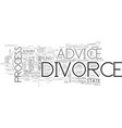 advice on divorce text word cloud concept vector image vector image