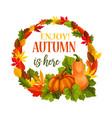 autumn pumpkin harvest leaf greeting poster vector image vector image