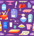 bakery ingredients food and kitchenware vector image vector image