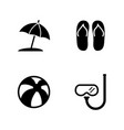 beach accessories vacation simple related icons vector image vector image