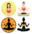 beautiful girl meditating vector image vector image