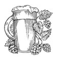 beer and hops plant engraving vector image vector image