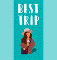 best travel trip woman with a bag vector image vector image