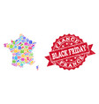 black friday collage of mosaic map of france and vector image vector image