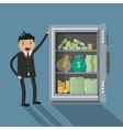 Businessman with safe vector image