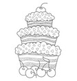 cake doodle coloring book page antistress vector image vector image