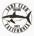 california shark - surfing typography vector image vector image