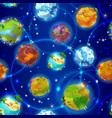 cartoon earth planets seamless pattern vector image