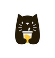 cat drink negative space logo icon vector image