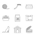 Cat equipment icons set outline style vector image