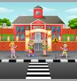 children crossing the stree vector image