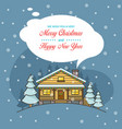 christmas greeting card with night landscape vector image