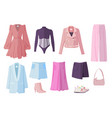 clothes set with casual woman spring vector image vector image
