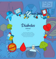 colored diabetes icons background with vector image vector image