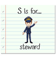 Flashcard letter S is for steward vector image vector image