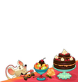 Funny mouse with cake for cards and graphics vector image