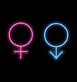 gender symbols in neon style neon silhouette vector image