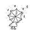 girl with umbrella in rain day autumn hand vector image vector image