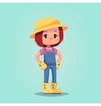 girl woman happy cartoon gardener mascot vector image