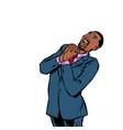happy african businessman joyful emotions vector image
