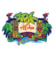 hawaii tiki statues palm trees and a banner vector image vector image