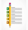 infographics template with pencil can be used for vector image vector image