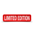 limited edition red 3d square button isolated on vector image vector image