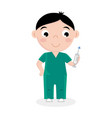 little boy in doctor uniform with syringe vector image vector image