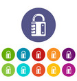 lock system icons set color vector image vector image