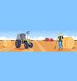 male farmer in uniform collecting hay tractor vector image