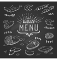 meat menu on chalkboard set meat symbols beef vector image vector image