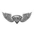 monochrome winged diamond template vector image vector image