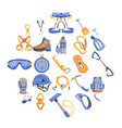 mountaineering equipment icons set cartoon style vector image vector image