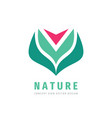 nature concept logo design red flower with green vector image
