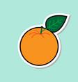 orange sticker on blue background colorful fruit vector image vector image