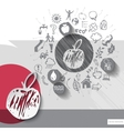 Paper and hand drawn apple emblem with icons vector image vector image