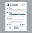 resume cv a4 letter on white vector image vector image