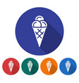 round icon of ice cream cone flat style with long vector image