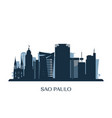 sao paulo skyline monochrome silhouette vector image vector image