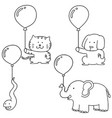 set of animal with balloon vector image