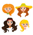 set of cartoon woman hippies isolated on vector image