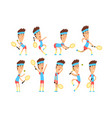 set of young tennis player standing with racket in vector image vector image