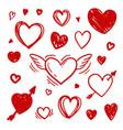set sketch doodle pen draw symbol a heart vector image vector image