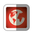 sticker color square with map of the world vector image vector image