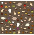 Tea and sweets seamless pattern vector image